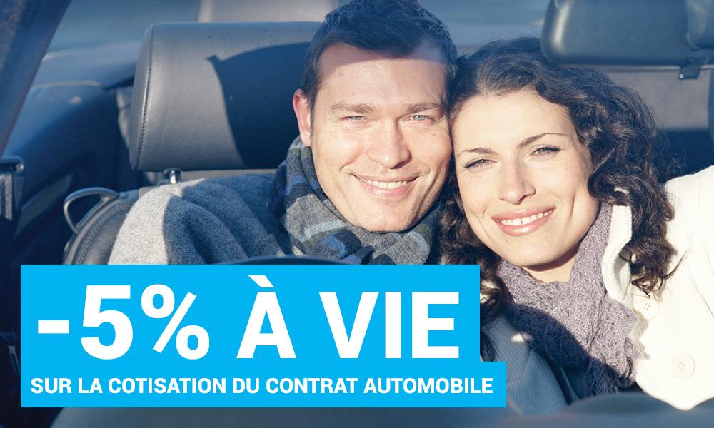 -5% à  vie sur la cotisation du contrat auto