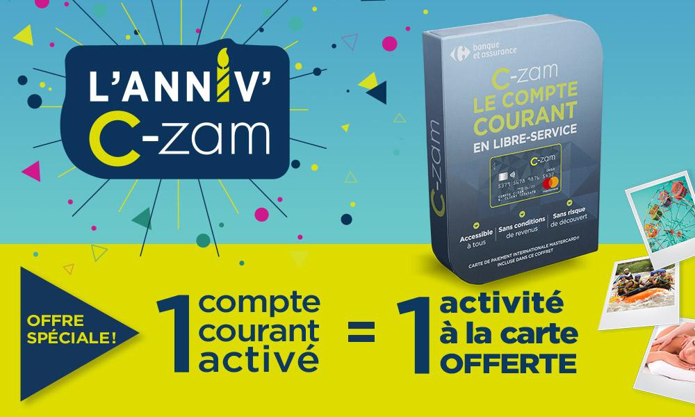 L'anniv' C-zam : 1 compte courant activé = 1 activité à la carte offerte