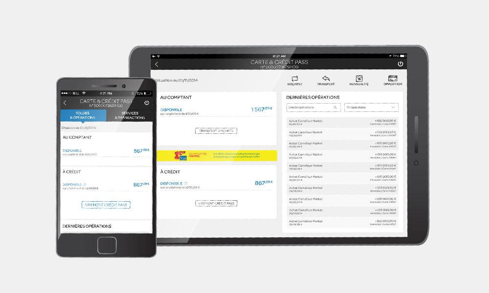 Application smartphone et tablette Carrefour Banque
